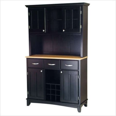 Home Styles Large Buffet with Two Glass Door Hutch, Black with Natural Top