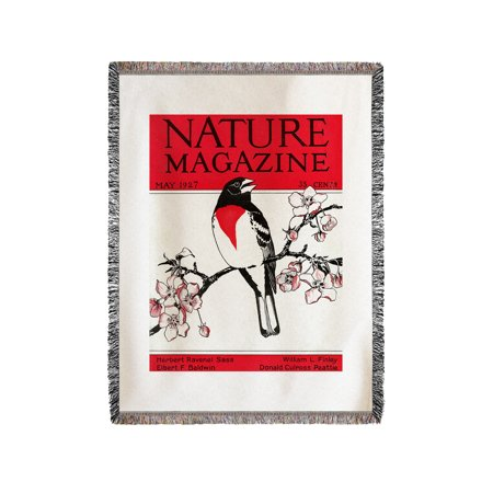 Nature Magazine - View of a Red-Breasted Robin on a Blossoming Branch (60x80 Woven Chenille Yarn Blanket)