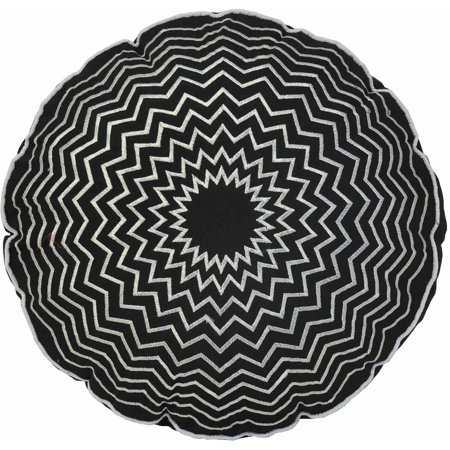 Round Decorative Pillow Set : Round Embroidered Decorative Pillow, Black - Walmart.com
