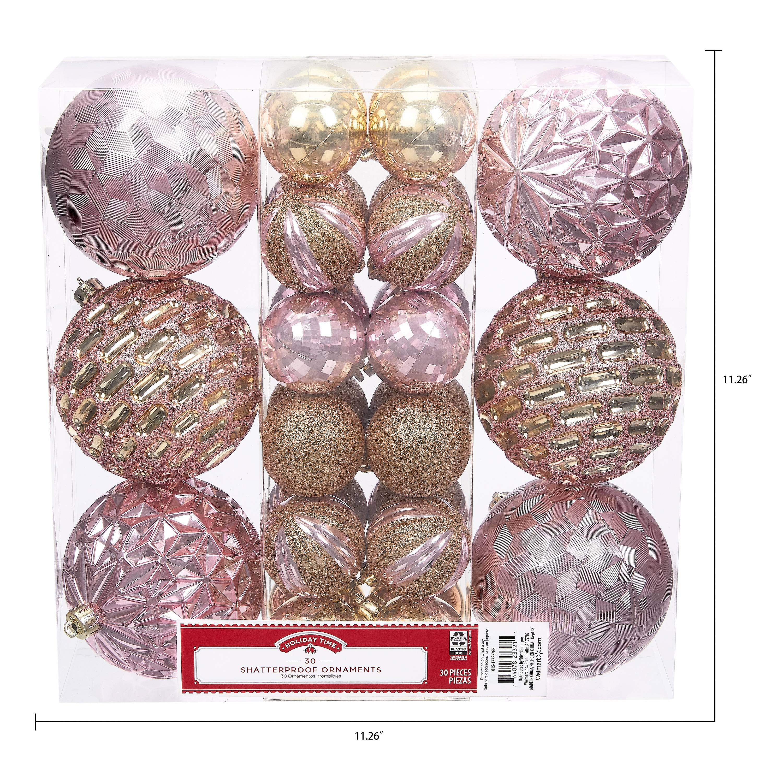 Holiday Time Shatterproof Ornaments 30 Count Pink Gold Walmart Com Walmart Com