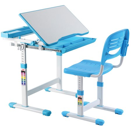 Groovy Gymax Height Adjustable Childrens Desk Chair Set Multifunctional Study Drawing Blue Onthecornerstone Fun Painted Chair Ideas Images Onthecornerstoneorg
