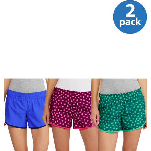 Danskin Now Women's Woven Running Shorts With Built-In Liner, 2pack