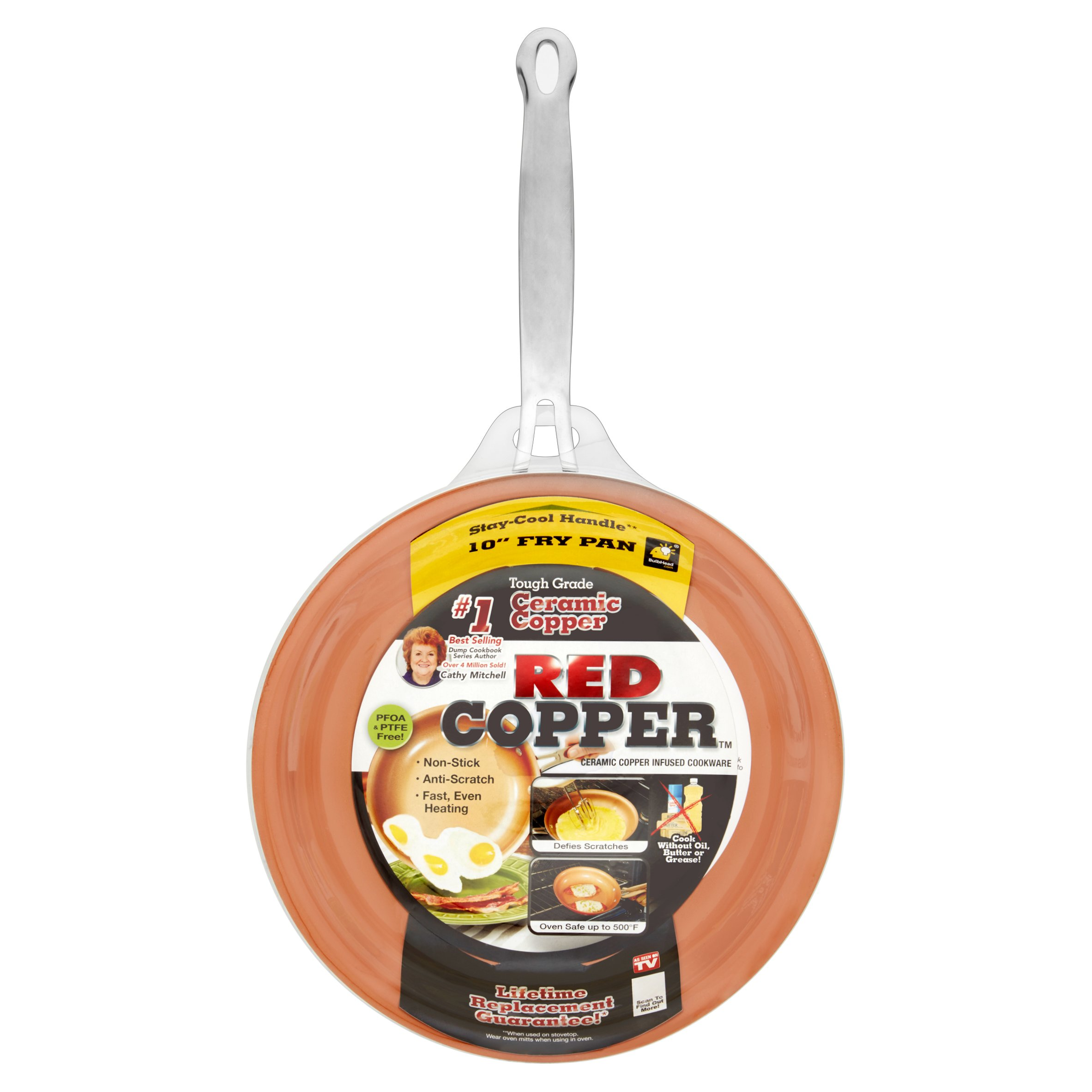 As Seen on TV Red Copper Non-stick Ceramic Pan, 10 inches