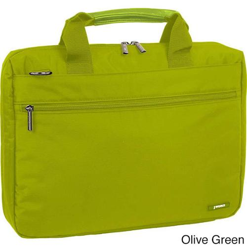 J World Reasearch 15-inch Laptop Briefcase Olive Green