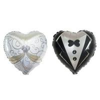 "BalsaCircle 2 pcs 14"" tall Heart Shaped Wedding Groom Tuxedo and Bride Dress Foil Balloons Set - Decorations Bachelorette Party SALE"