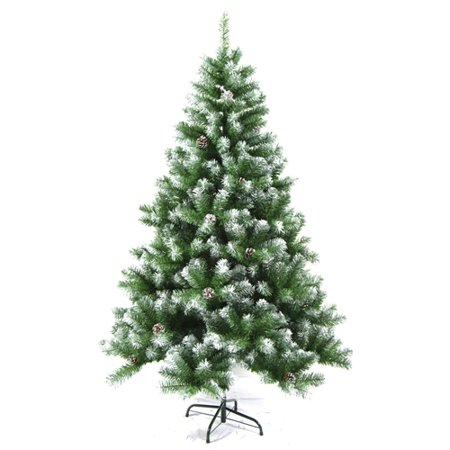 ALEKO Snow Dusted Artificial Christmas Tree with Pine Cones - 8 Foot