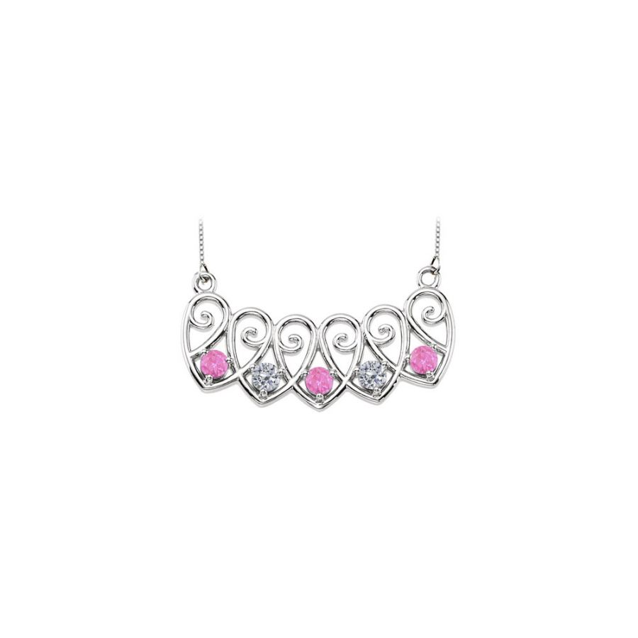 LoveBrightJewelry 14K White Gold Created Pink Sapphire and Cubic Zirconia Mothers Necklace Mounting by Love Bright