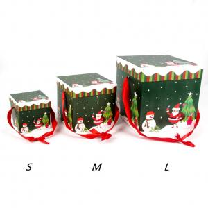 Fancyleo 3 Piece Christmas Gift Boxes Christmas Nesting Boxes with Lids in 3 Assorted Sizes for Holiday Decorative Wrapping