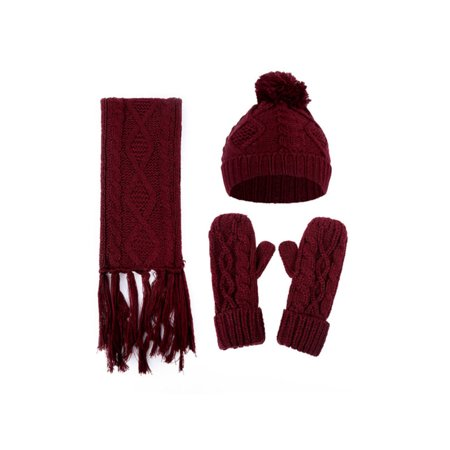 Womens Twist Thick Wool Knit Beanie Fleece Fur Pom Hat Tassel Scarf Gloves Set ()