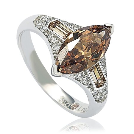 Sterling Silver Brown Cubic Zirconia Marquise Ring