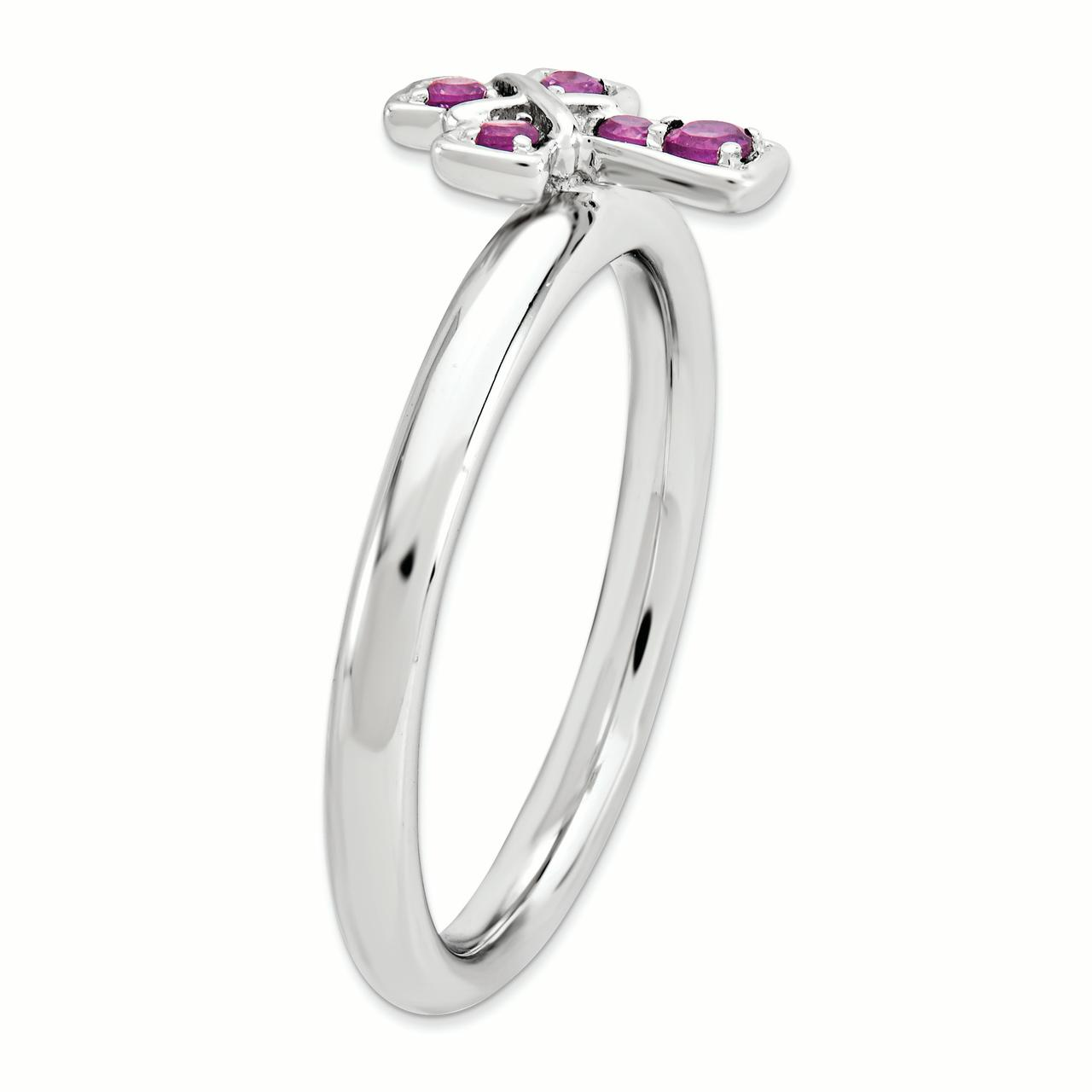 Sterling Silver Stackable Expressions Rhodium Rhodolite Garnet Cross Ring Size 6 - image 3 de 3