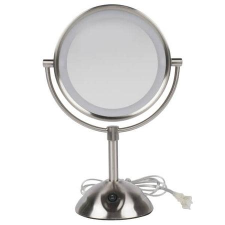 "Conair BE119WH 8 1/2"" Satin Nickel Freestanding LED Lighted Vanity Mirror"