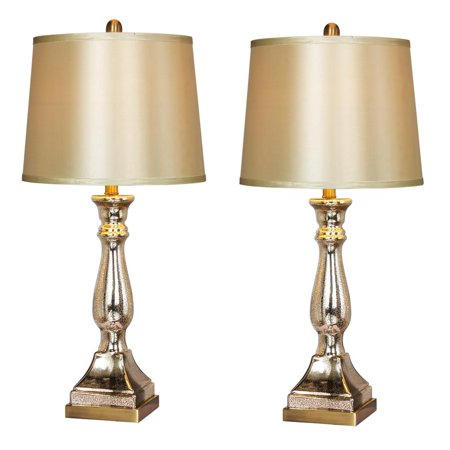 Two Luxury Lamps Without The Luxury Cost! Fangio Lighting's 5160 Pair of 28 in. Vintage Mercury Glass & Antique Brass Candlestick Table Lamps With Pedestal -