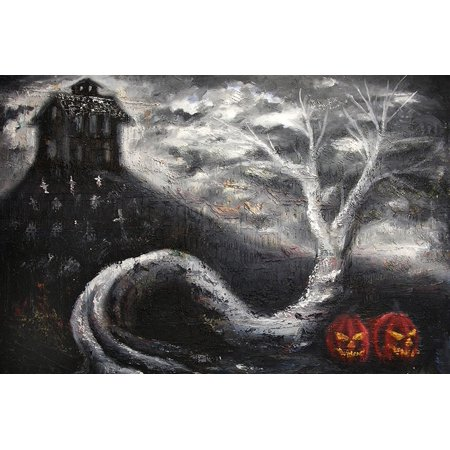 Haunted Mansion by Bobby Holland Halloween Jack O Lanterns Tattoo Poster Print