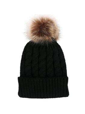 aca77f7e800 Product Image Men   Women s Winter Hand Knit Faux Fur Pompoms Beanie Hat  Black. Simplicity