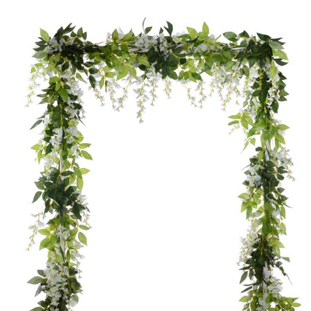 4Pcs 6.6Ft/Piece Artificial Flowers Silk Wisteria Garland Artificial Wisteria Vine Rattan Silk Hanging Flower with 10 Shorter Strings for Home Garden Outdoor Ceremony Wedding Arch Floral Decor White 7 String Arch Top