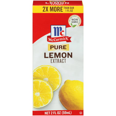 (2 Pack) McCormick Pure Lemon Extract, 2 fl oz Lemon Mint Flavor