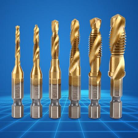 Yosoo 6pcs Metric Thread M3-M10 Titanium Coated HSS Drill and Tap Bits 1/4