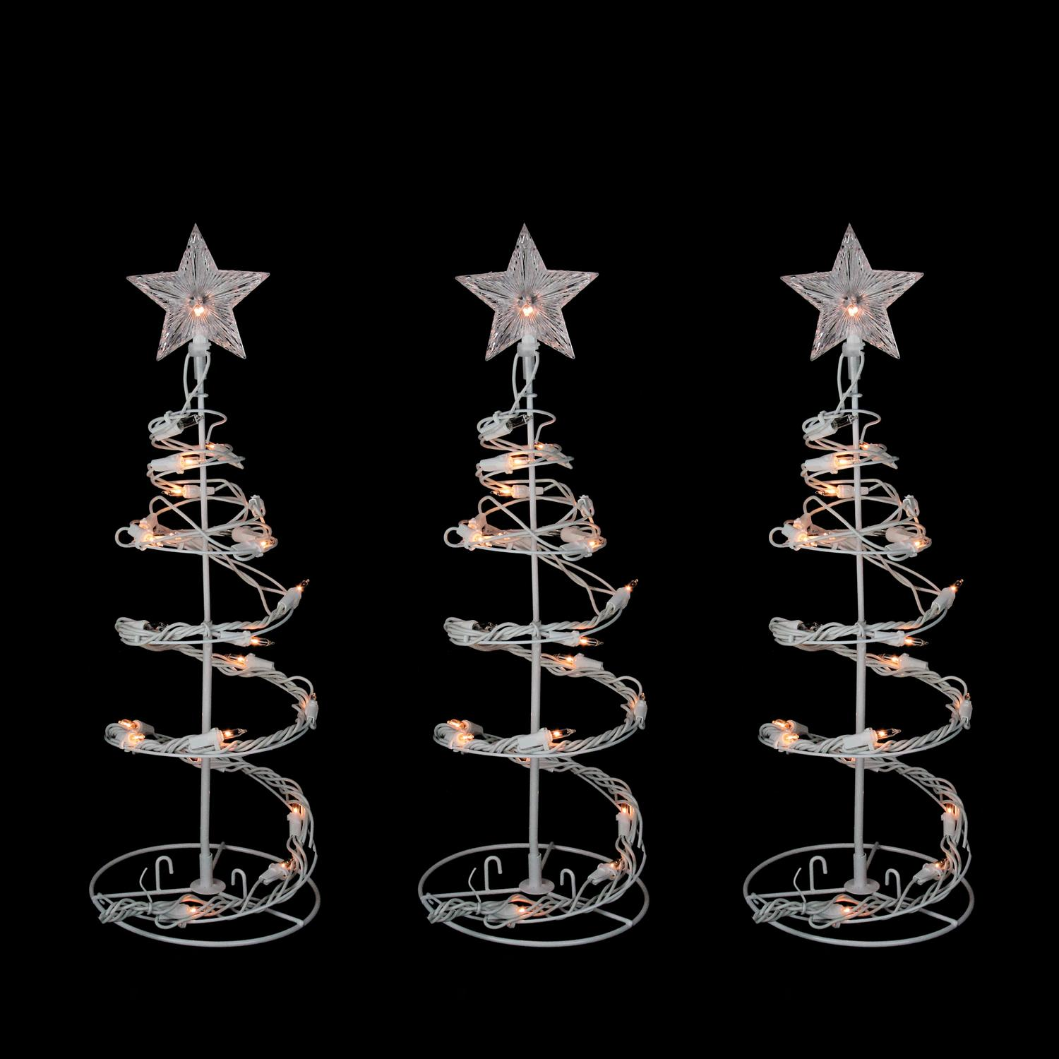 "Northlight 3pc Set of 18"" Prelit Artificial Christmas Trees Spiral Walkway Outdoor Decorations - Clear Lights"