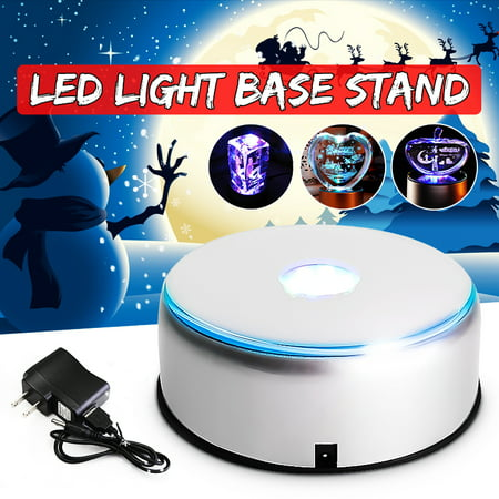 Lighted Display Stand (110V-220V 7-LED Colorful Light Rotating Crystal Display Base Stand Holder with Adapter Silver )