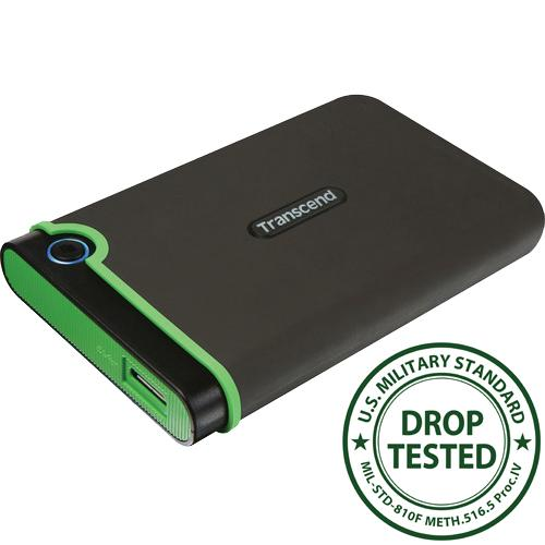 Transcend StoreJet 25M3 1TB USB 3.0 External Hard Drive, Black/Green