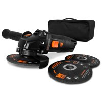 WEN 7.5-Amp 4-1/2-Inch Angle Grinder with Reversible Handle, Three Grinding Discs and Carrying Case, 94475