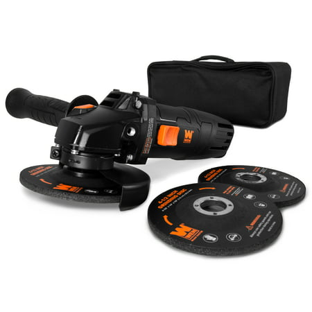 WEN 7.5-Amp 4-1/2-Inch Angle Grinder with Reversible Handle, Three Grinding Discs and Carrying Case,