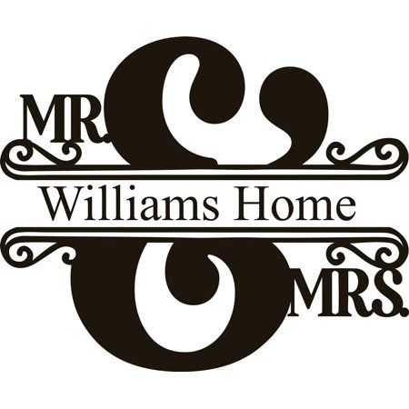 Personalized Custom Wedding Stickers (Personalized Name Vinyl Decal Sticker Custom Initial Wall Art Personalization Decor Home Decorating Marriage Mrs. Mr. Wedding Shower Gift 12 Inches X 12 Inches)