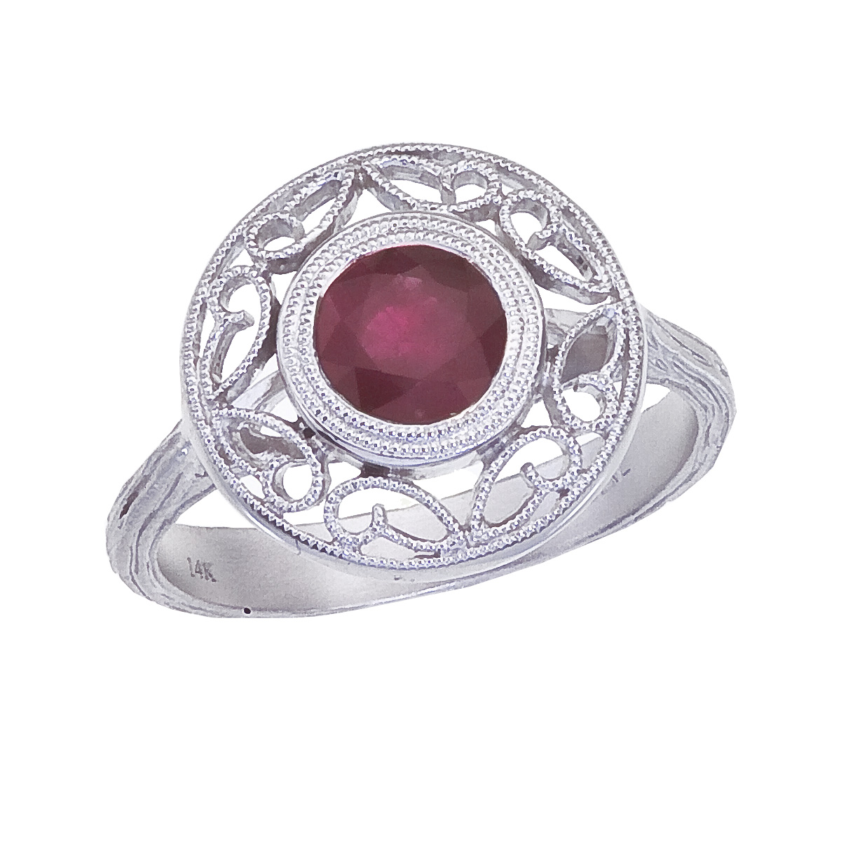 14k White Gold Ruby Filigree Ring by