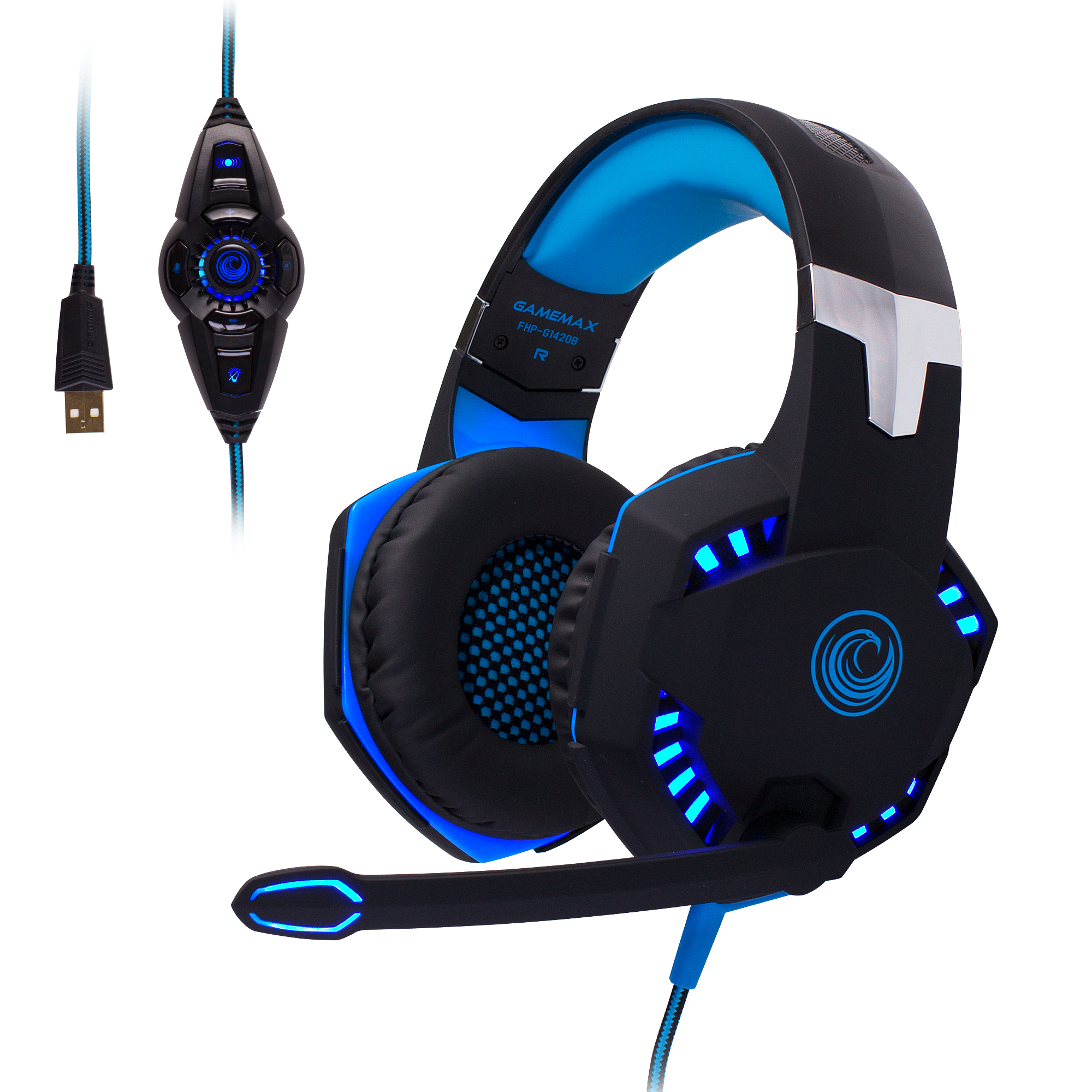FHP-G1420B Comfortable Professional 7.1 Stereo Surround Sound Haptic Feedback Headphones w/ LED lighting, Boom Mic, In-Line Audio Controller - Blue