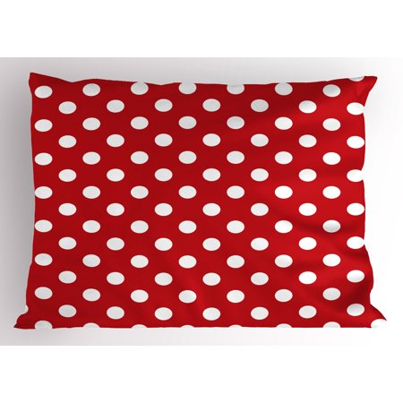 Retro Pillow Sham Vintage Polka Dots with Big White Circular Round Forms Nostalgic Girlish Kitsch Art Design, Decorative Standard Size Printed Pillowcase, 26 X 20 Inches, Red, by Ambesonne (Forms Dot)