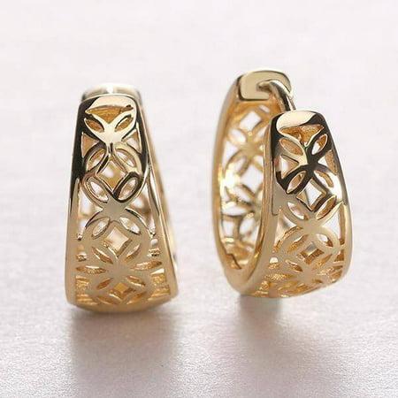 - ON SALE - 18K Gold Filled Filigree Flower Petite Huggie Earrings Yellow Gold