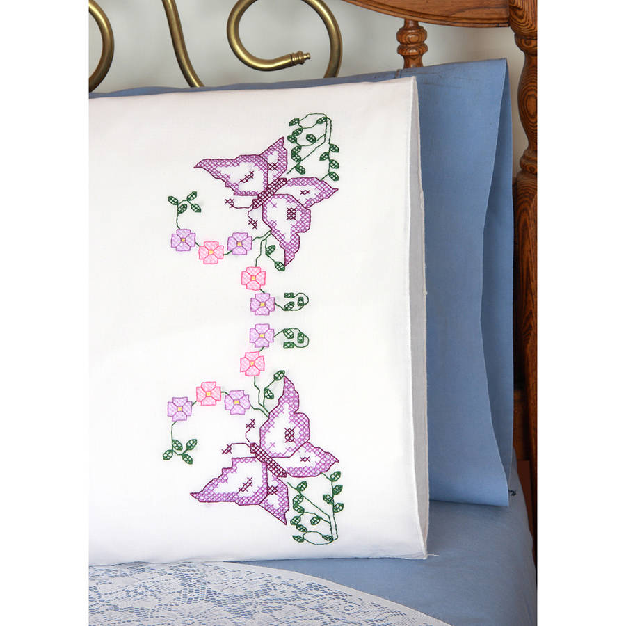 "Stamped Perle Edge Pillowcases, 30"" x 20"", 2pk"