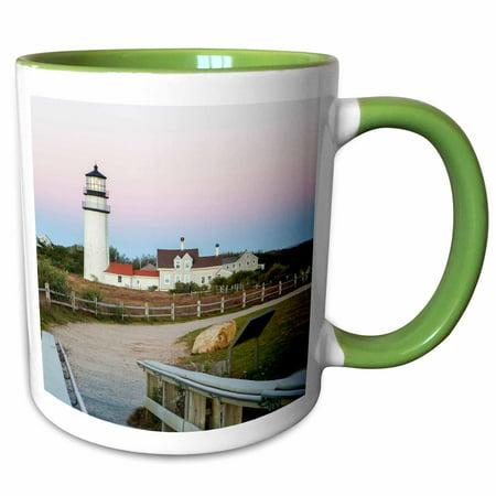 3dRose Highland Light in the Cape Cod National Seashore. Truro, Massachusetts - Two Tone Green Mug, 11-ounce