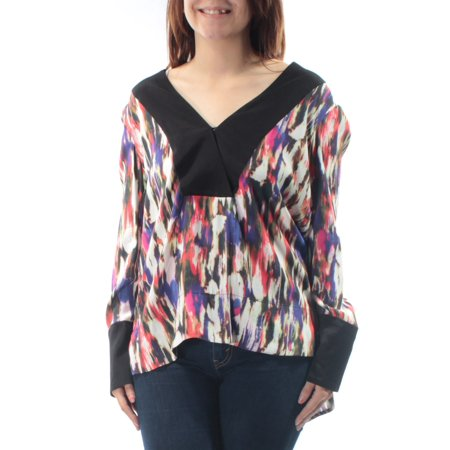 FRENCH CONNECTION Womens Black Printed Cuffed V Neck Hi-Lo Top  Size: (French Viscose)