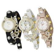 Geneva Platinum Women's Studded Wrap Watch with Case White