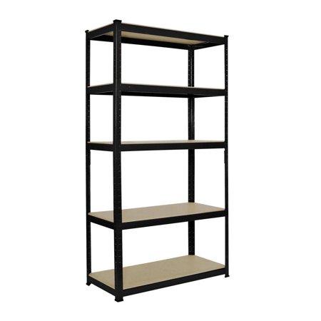 Ktaxon 5 Tier Heavy Duty Boltless Metal Shelving Shelves Storage Shelf Garage BLK