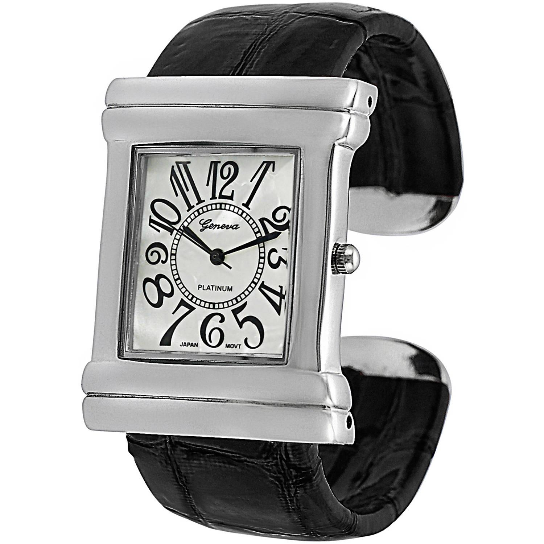 KNS International Brinley Co. Women's Croc Skin Stamped Vinyl Antique Fashion Watch, Black
