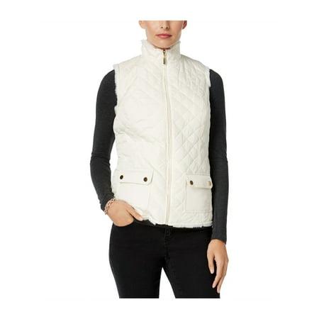 - Charter Club Womens Faux Fur Puffer Vest vintagecream L