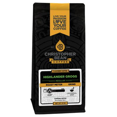 Highlander Grogg Flavored Whole Bean Coffee, 12 Ounce Bag