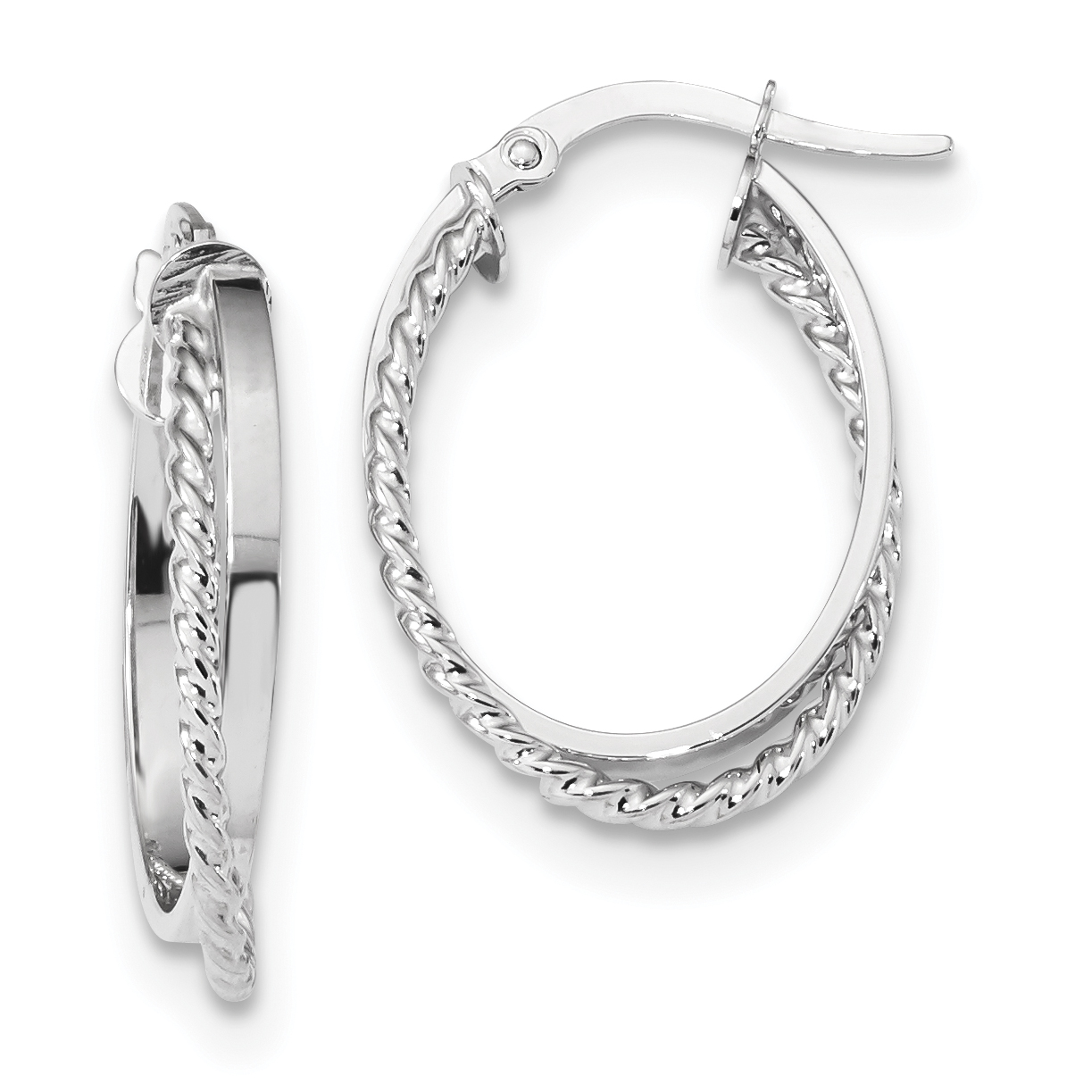 14K White Gold Polished & Textured Oval Hinged Hoop Earrings - image 2 of 2