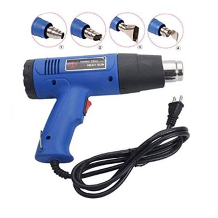 ual Temperature Heat Gun Portable Hot Air Gun w/4 Nozzles for Heat Shrink Tubing, Wrapping Drying Painting Blue (Variable Temperature Electronic Heat Gun)