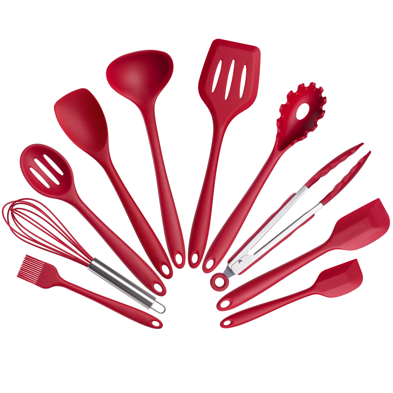 Mainstays 10 Piece Silicone Kitchen Utensil Set Red Walmart Com Walmart Com