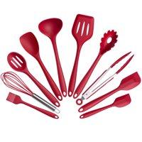 Mainstays 10 Piece Silicone Kitchen Utensil Set, Red