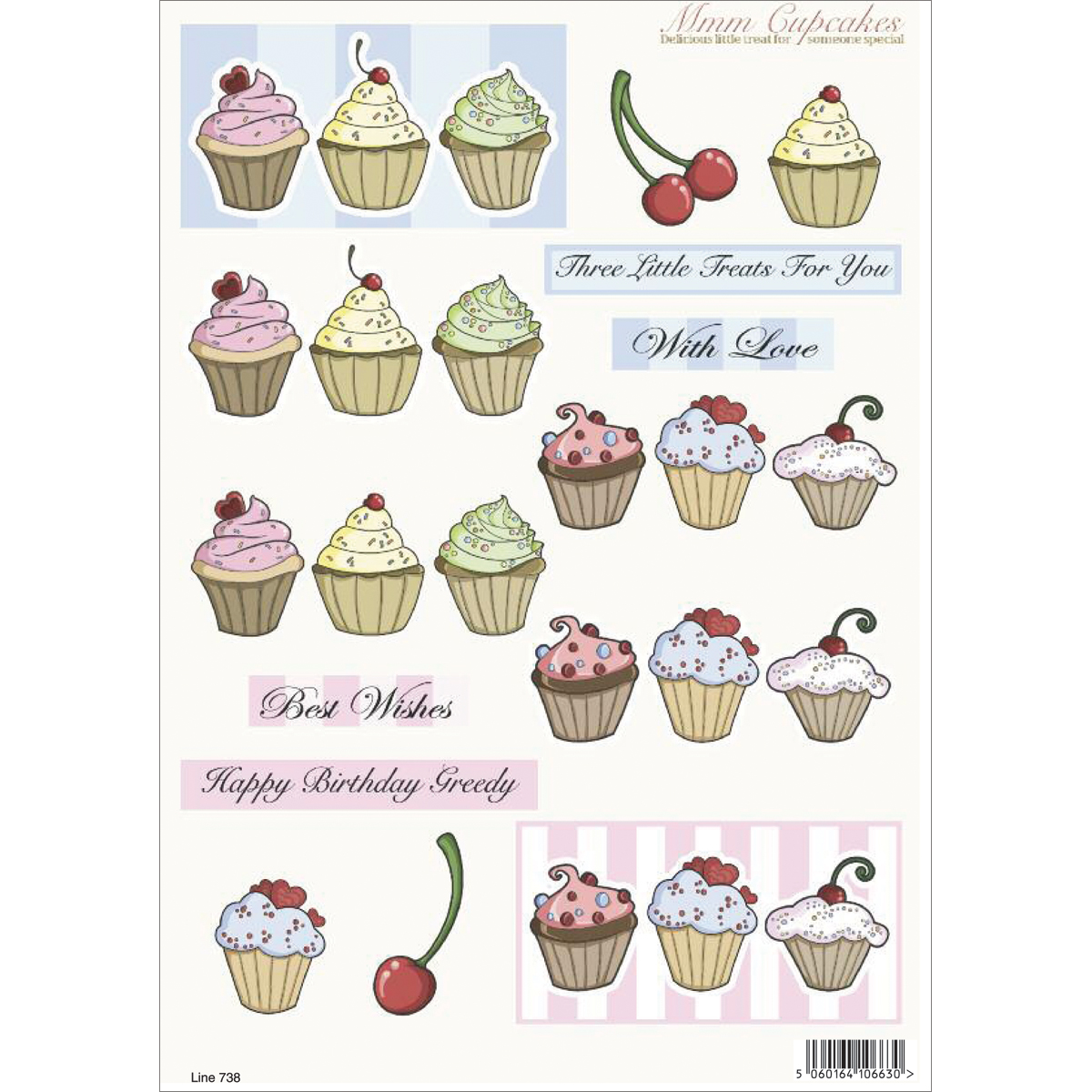 "3D Die-Cut Decoupage Sheet 8.3""X11.69""-Cupcakes: Three Little Treats For You"