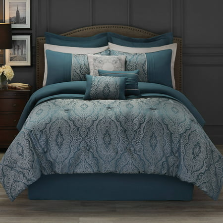 Hotel style 11 piece bedding comforter set collection for Luxury hotel 660 collection bed skirt