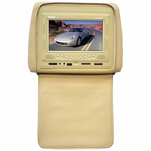 """Pyle Audio PL72HRTN Adjustable Single Headrest with Built-In 7"""" TFT/LCD Monitor with IR Transmitter and Cover, Tan"""