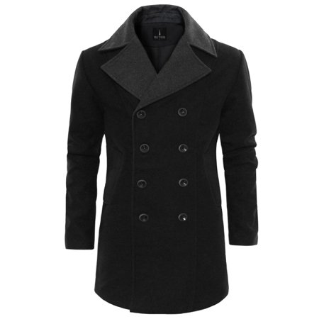 TAM WARE Men's Trendy Double Breasted Trench Coat