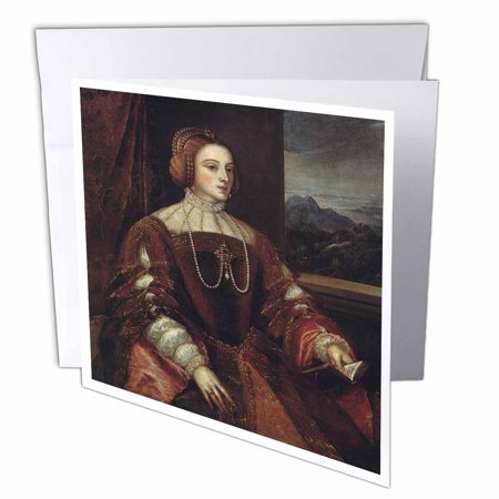 3dRose Portrait of Isabella of Portugal, 1548 by Titian, Greeting Cards, 6 x 6 inches, set of 12