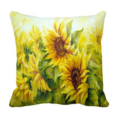 PHFZK Oil Painting Pillow Case, Sunny Nature Art Sunflower Sunflowers Landscape Yellow Pillowcase Throw Pillow Cushion Cover Two Sides Size 18x18 inches ()